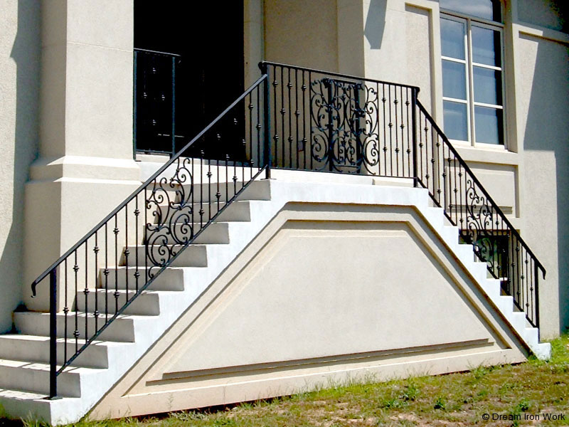 Custom Ornamental Iron Stair Railing Design - Dream Ironwork